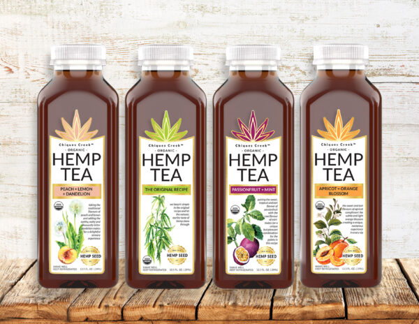 bottles of Chiques Creek Organic Hemp Tea