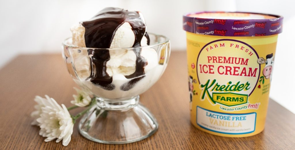 Kreider Farms Lactose Free Ice Cream with hot fudge