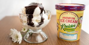 Kreider Farms Lactose Free Ice Cream with hot fudge