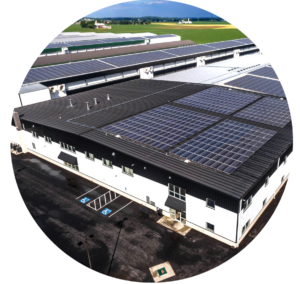 solar panels on roof of processing facility