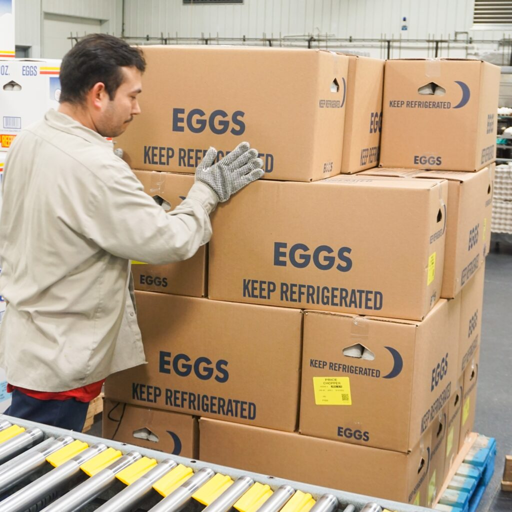 man stacking boxes of eggs in processing facility