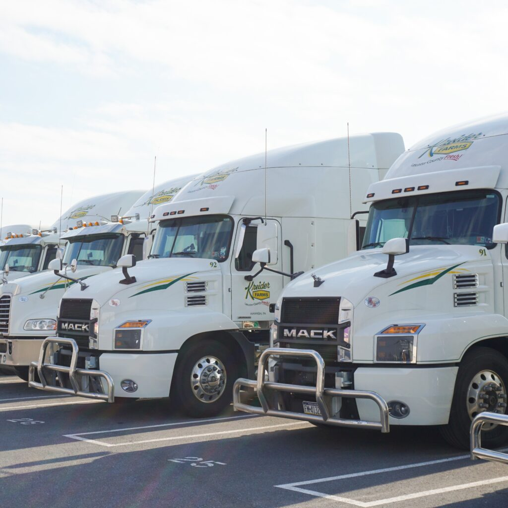 lineup of trailer truck cabs