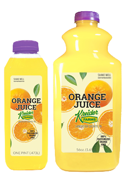 Kreider Farms orange juice single serve and bulk size