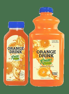 Kreider Farms orange drink single serve and bulk size