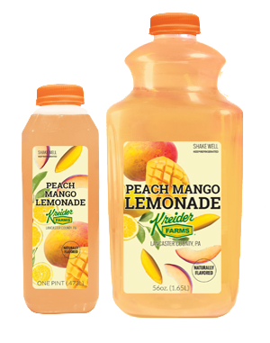 Kreider Farms peach mango lemonade single serve and bulk size