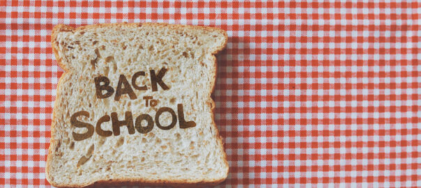 back to school on red gingham background