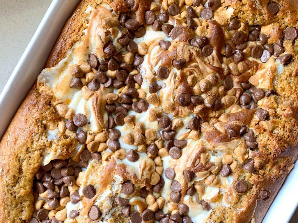 pumpkin dump cake in baking dish
