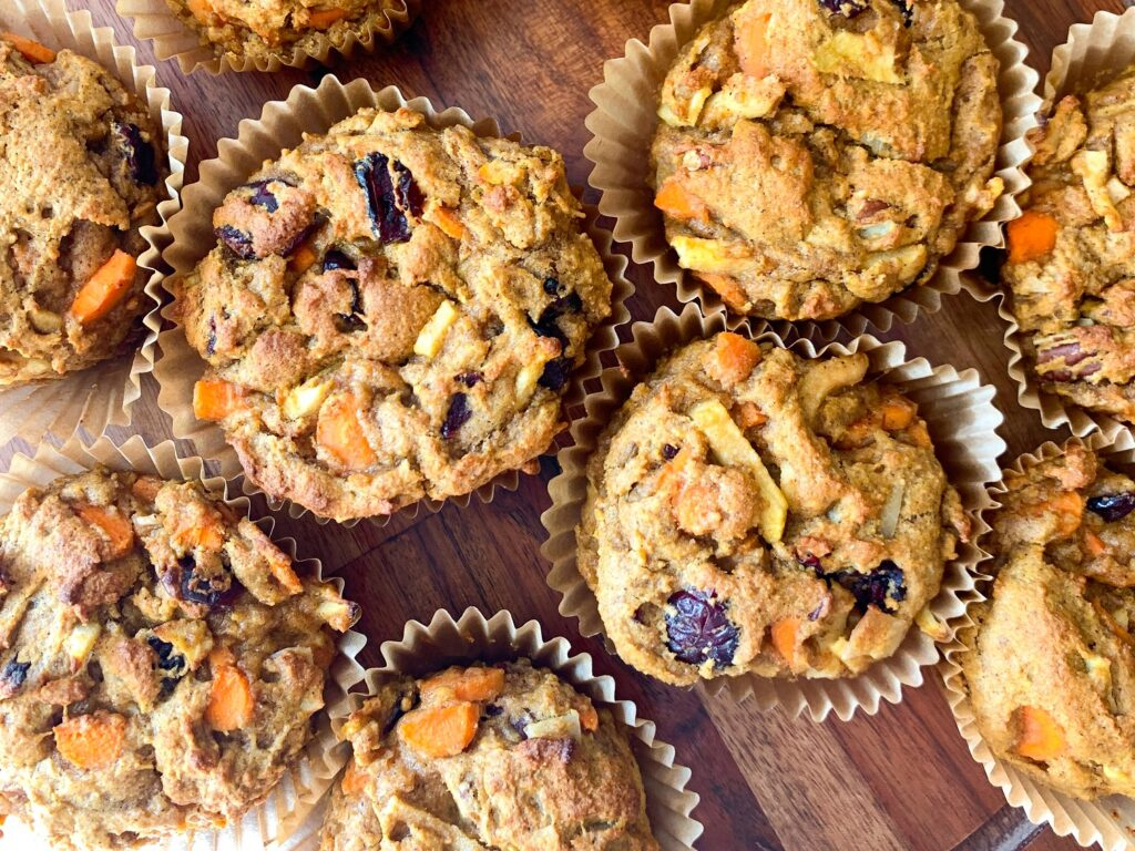 pumpkin morning muffins on wooden tray